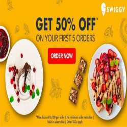 Swiggy Coupons & Offers: Flat 75% for New Users on 5 First Orders Via Amazon Pay