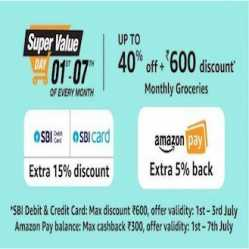 Amazon Super Value Day 1st-7th September 2020: Upto 50% Off + Rs 400 Cashback Via SBI Cards
