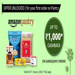 Amazon Pantry Offers Today: Flat 30% OFF + Extra 10% Cashback via Amazon Pay on First Order