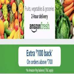 Amazon Fresh Grocery Offers:  Extra 15% Discount upto Rs.375 Off on Grocery Shopping