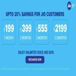 Jio Recharge Offers Today: Flat Rs.250 Cashback on Jio recharge Via Amazon Pay, Paytm, Freecharge, Mobikwik, Google Pay