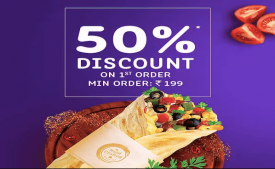 Faasos Coupons & Offers: Flat 50% Off + Extra 10% cashback on first order- Dec 2019