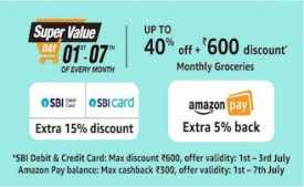 Amazon super value day On 1st-7th January 2020: Upto 50% Off + Rs 600 Cashback on ICICI Bank