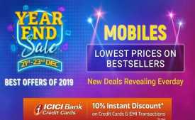 Flipkart Year End Sale 2019: Discount On Mobiles + Extra 10% WIth ICICI Cards [21st-23rd Dec]
