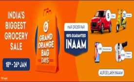 Grofers Grand Orange Bag Days sale 18th-26th Jan 2020: Upto 100% cashback on Grocery Shopping