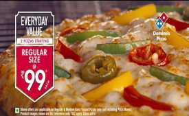 Dominos Wednesday Offer Today: Pizza Starting @ Rs.99 + Extra 50% OFF