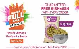Grofers Housefull Sale 29th-7th March 2020: Min 30% OFF + Extra 10% Cashback on SBI Cards
