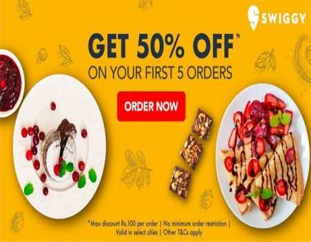 Swiggy Coupons & Offers August 2020: 50% on First 5 Order Via Amazon Pay