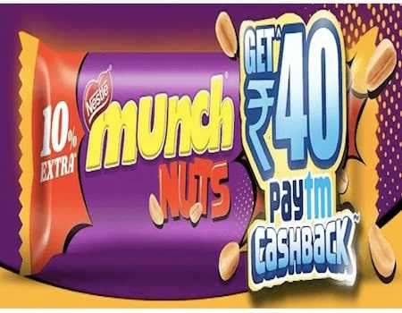 Paytm Munch Nuts Offers: FREE Rs.40 PayTM Cashback on Rs.20 Much Pack