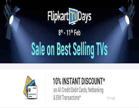 Flipkart TV days Offers [8th-11th September]: 70% OFF + Extra 10% Instant Discount on Online Payment