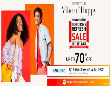Amazon Wardrobe Refresh Sale 18th-22nd July 2020: 80% on Fashion + Extra 10% Off with SBI Cards